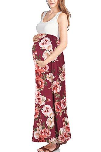 Beachcoco Women's Maternity Sleeveless Maxi Empire Waist Flower Printed Tank Dress (S, Wine Flower)