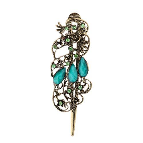 Retro Antique Peacock Design Alligator Hair Clip for Ladies Girls (Color - Blue)