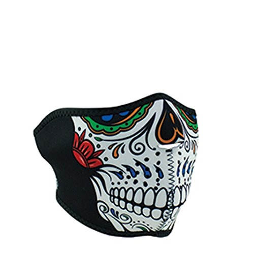 Muerte Sugar Skull Day of Dead Reversible to Black Neoprene Half Face (Half Dead Halloween Face)