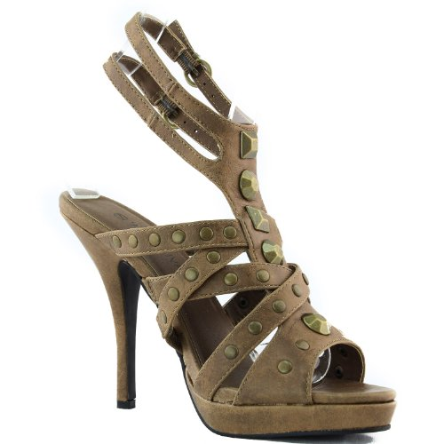 Strap Strappy Ankle High Sandal Pump Platform Shoes Women's Heel Studded Fashion Taupe Dress xZw8cYq4