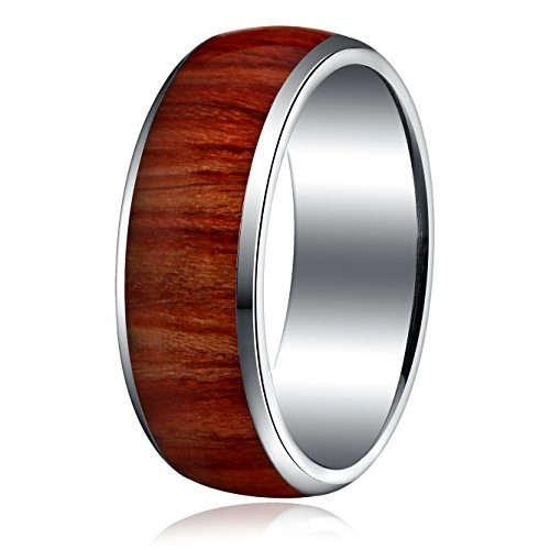 [Areke 8mm Titanium Wood Pattern Engagement Rings for Men Women Vintage Wedding Band Size 8 - 13 Ring Size Size] (Ghana Costume For Boys)