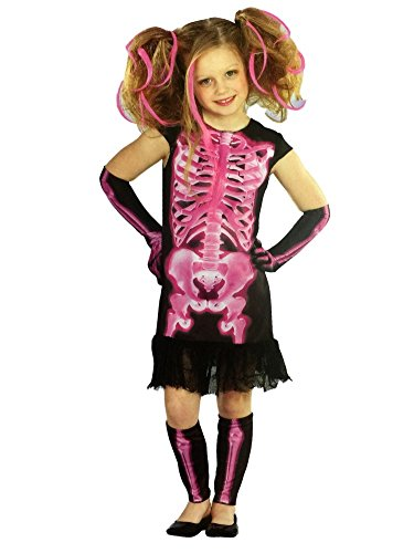 Totally Ghoul Girls Pink Shocking Xray Halloween Costume Dress Up Outfit -