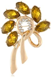 """Anne Klein """"Holiday Pins"""" Gold-Tone and Topaz Wreath Pin"""