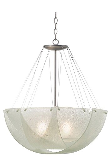Cirrus Glass Bowl - Kalco 5098SN Cirrus 3-Light Pendant, Satin Nickel Finish with Clear Bubble Art Glass