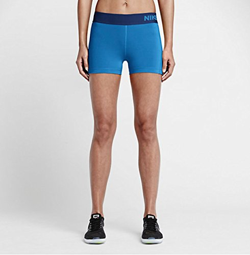Nike Women's Pro Cool 3-Inch Training Shorts (Light Photo Blue/Deep Royal Blue/Small)
