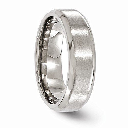 Edward Mirell Brushed and Polished Titanium Beveled 7mm Wedding Band - Size 7