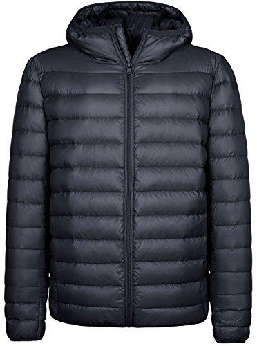 Wantdo Men's Hooded Packable Light Weight Down Puffer Jacket Dark Grey Small by Wantdo