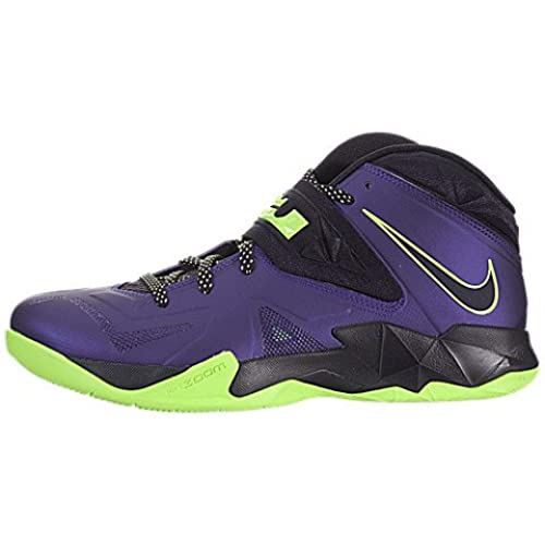 Mens Nike Zoom Soldier VII Basketball Shoes Court Purple/Flash Lime/ Blueprint Size 12