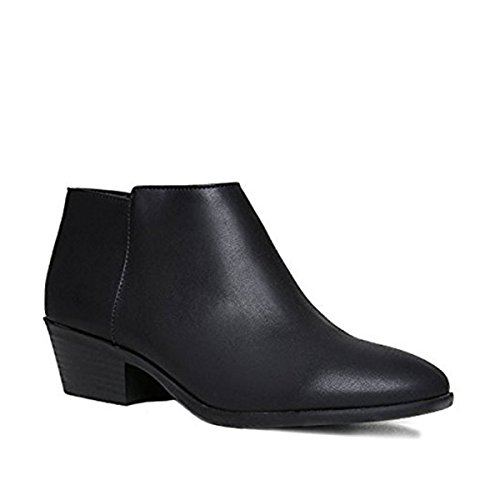 SODA Western Ankle Boot- Cowgirl Low Heel Closed Toe Casual Bootie Black Pu 7.5