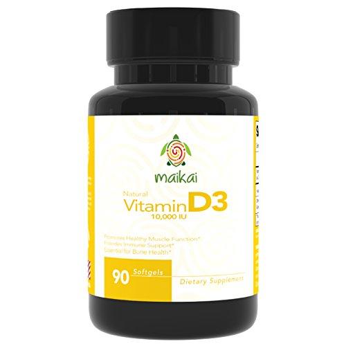 Vitamin D3 - 10,000 IU for Increased Immune Support, Healthy Muscle Function and Healthy Teeth & Bones (90 Servings)
