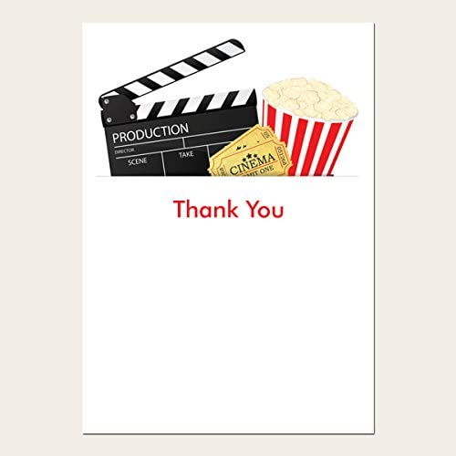Pack of 10 Cinema Party Kids Thank You Cards