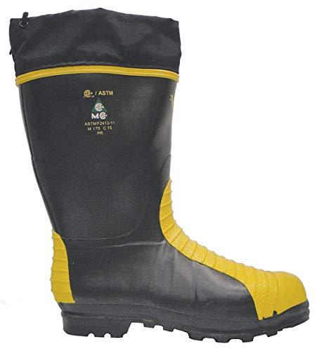 Safety Boots Guard Metatarsal (Viking Footwear MET Guard Waterproof Boot, Black/Yellow, 11 M US)