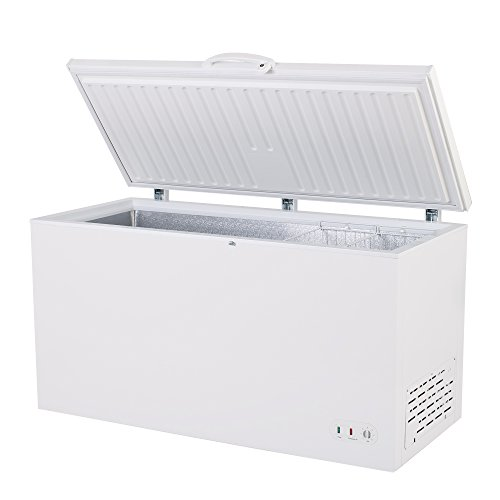 "Maxx Cold 60.2"" Wide Solid Hinged Top Commercial Chest Freezer with Locking Lid NSF Garage Ready Manual Defrost Keeps Food Frozen for 2 Days In Case of Power Outage, 15.9 Cubic Feet 450 Liter, White"