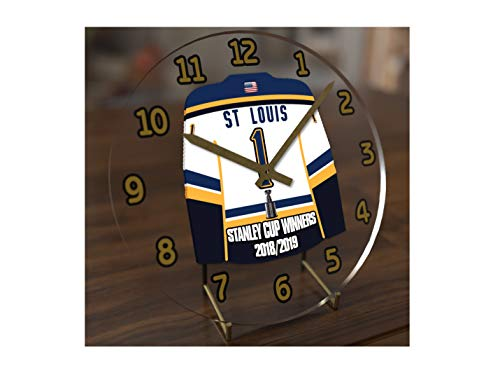 Stanley Cup Final Champions 2018/19 Commemorative Jersey Themed Table Clock - Lets GO Blues !! Worst to First - History !! 7