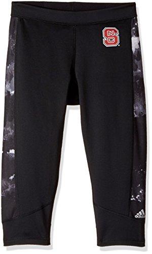 adidas NCAA North Carolina State Wolfpack Adult Women Team Logo Techfit Oxidized Capri, X-Large, Black (North Carolina Workout Pants)
