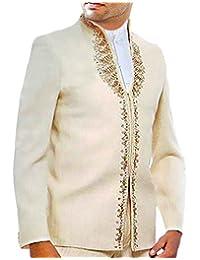 INMONARCH Hombres El trabajo del diseñador de moda 3 Pc Marfil traje Jodhpuri JO118