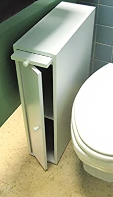 "24"" Wood Slim Bathroom Cabinet Stand - White"
