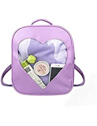1fe8391abda5 FL1 Candy Leather Backpack Transparent Heart Beach Girls School Bag