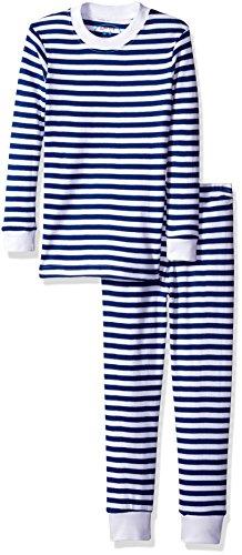 Sara's Prints Little Boys' Organic All Cotton Long John Pajamas, Blue/White Stripe, (Stripe Long Johns)