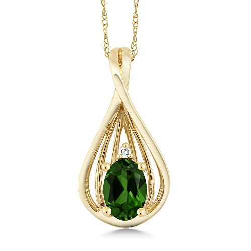 Gem Stone King 0.45Ct Oval Green Chrome Diopside and Diamond 10K Yellow Gold Teardrop Pendant With Chain