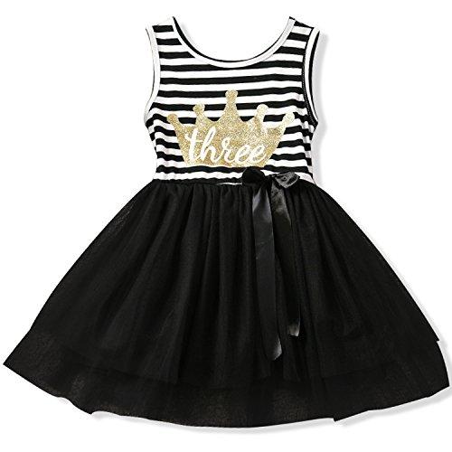 NNJXD Girl Shinny Stripe Baby Girl Sleeveless Printed Tutu Birthday Dress Gold&Black 2-3 Years