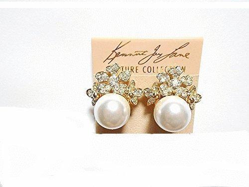 Kenneth Jay Lane Crystal Flower Pearl Clip Earrings 11073