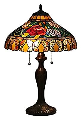 Amora Lighting AM060TL16 Tiffany Style Roses And Butterflies Table Lamp 24 Inches