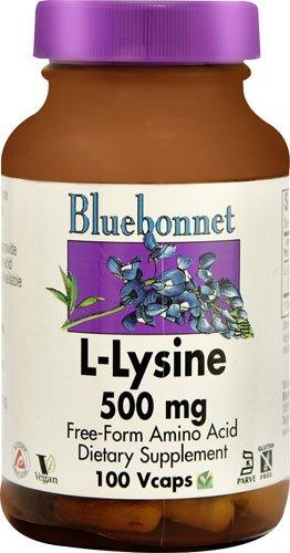 Bluebonnet Nutrition L-Lysine -- 500 mg - 100 Vegetable Capsules - 3PC by Blue Bonnet