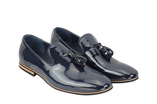 12 Casual 6 On sintética Xposed nbsp;piel tamaño Smart azul nbsp;A nbsp;– Patent Suede marino Slip zapatos Loafers diseño de conducción Navy borla 8fTqpwfx