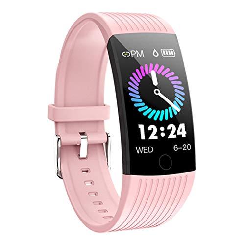- HHRONG Pantalla En Color De La Pulsera Inteligente, Función De Presión Arterial Con Frecuencia Cardíaca A Prueba De Agua IP 67, Podómetro GPS, Cronómetro, Reloj Inteligente Android para iOS-E