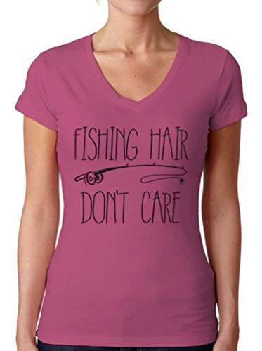 Price comparison product image Awkward Styles Women's Fishing Hair Don`t Care V-Neck T Shirts For Women With A Fishing Rod Pink S