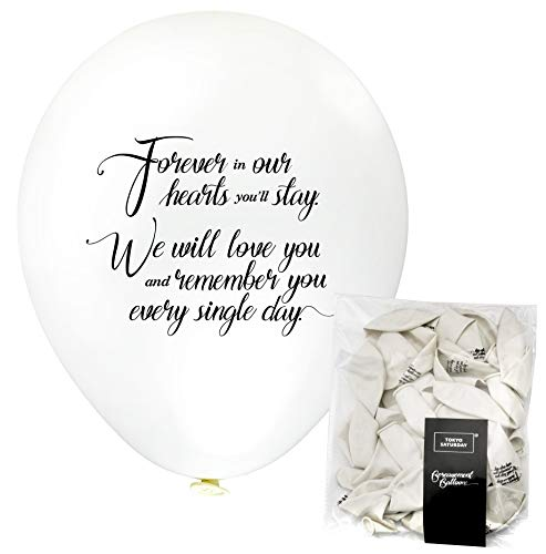 Remembrance Bereavement Memorial Funeral 30pk White Biodegradable Helium Quality Balloon Releases, Celebration of Life, Condolence - Personalised