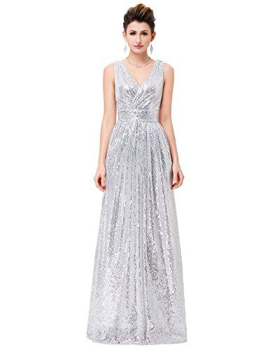 MEI&S Vintage mujer elegante vestido de Prom Larga Noche Maxi vestido de fiesta plateado