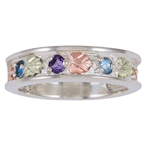 Sapphire, Amethyst, Blue Topaz, Citrine Ring, Sterling Silver, 12k Green and Rose Gold Black Hills Gold Motif, 12k Green and Rose Gold Black Hills Gold Motif, Size 6