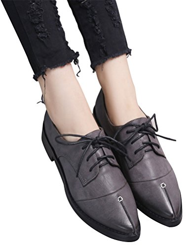 Anti School Casual Skid Oxford Uniform Shoes Heel Shoe Deep Use Dress Work Retro Grey Women Low qPgXPI