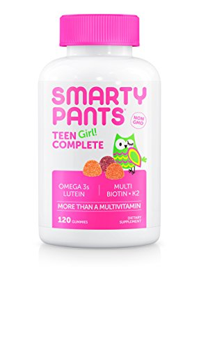SmartyPants Teen Girl Complete Gummy Vitamins: Multivitamin & Lutein/Zeaxanthin for Blue Light Protection*, Biotin, Vitamin K & D, Omega 3 Fish Oil, 120 COUNT, 30 Days Supply