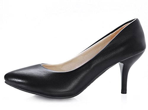 Aisun Damen Elegant Spitz Zehen Kunstleder Low Top Stiletto High Heel Business Pumps Schwarz