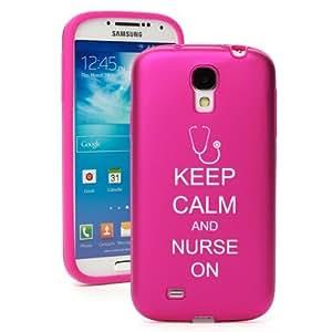 Hot Pink Samsung Galaxy S4 S IV i9500 Aluminum & Silicone Hard Back Case Cover KA852 Keep Calm and Nurse On Stethoscope