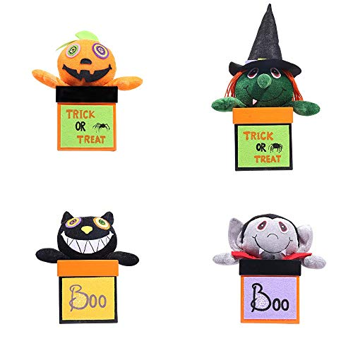 HORHIN Halloween Candy Jar Decoration,Set of 4 Sweets Storage Doll Box,Trick or TreatParty PotToy Doll,Transparent Sugar Bottle Plastic Cookies Storage Box,Children Gifts Container by HORHIN