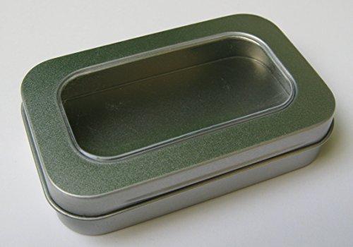 Kronenberg24 Metalldosen 96x59x21mm Blechdosen mit Fenster 10 Stück Packung