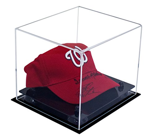 Deluxe Clear Acrylic Baseball Cap Display Case with Black Risers (A006-BR) - Mlb Baseball Cap Display Case