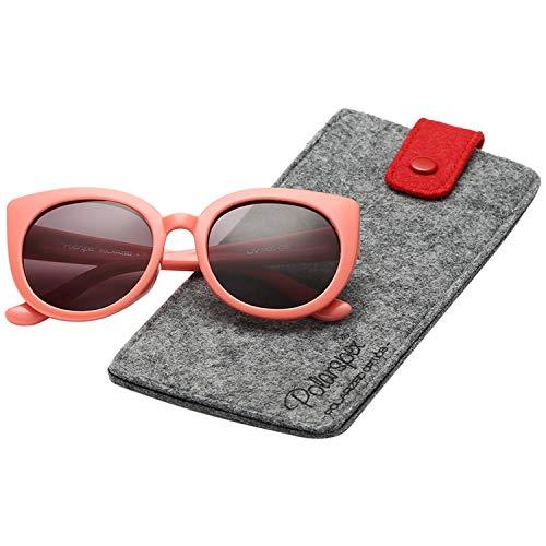 Polarspex Girls Elastic Cateye Kids Toddler Polarized Sunglasses - BPA Free (Ocean Coral |Ash Smoke)