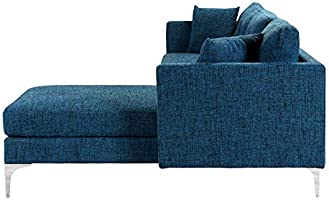 Blue Upholstered Linen Sectional Sofa Couch | Modern L-Shape Sectional, Sectional Sofas and Couches, Sofa Couch with Chaise, for Small/Large Living ...