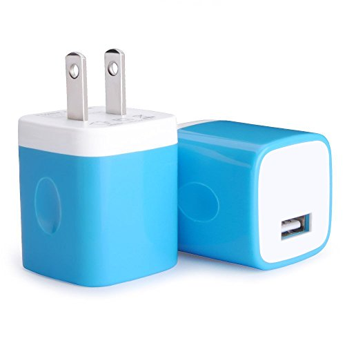 Wall charger plug, Asstar Universal usb adapter Wall Charger plug for iPhone 7/7 plus Iphone 6 5 5s, Ipad 6 , Ipad Mini, Ipod Touch, Samsung Galaxy S7 edge S6 & Android (Blue 2 pack)