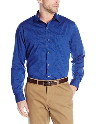 Van Heusen Men's Traveler Stretch Non Iron Long Sleeve Shirt, Mazarine Blue Stripe, X-Large