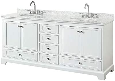 Wyndham Collection Deborah 80 Inch Double Bathroom Vanity in White, White Carrara Marble Countertop, Undermount Oval Sinks, and No Mirrors