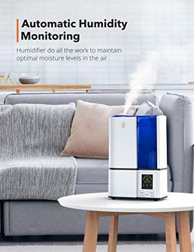 41lGLacIRFL. AC - TaoTronics Humidifiers, 4L Cool Mist Ultrasonic Humidifier For Bedroom Home Large Room Baby Room, Quiet Operation, LED Display With Humidistat, Waterless Auto Shut-off (1.06 Gallon, US 110V)