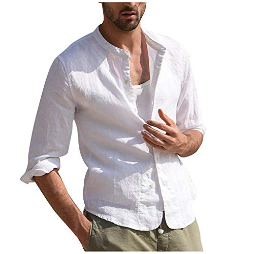 Vintage Linen T Shirts Mens Three Quarter Solid Short Sleeve Tops Blouse White
