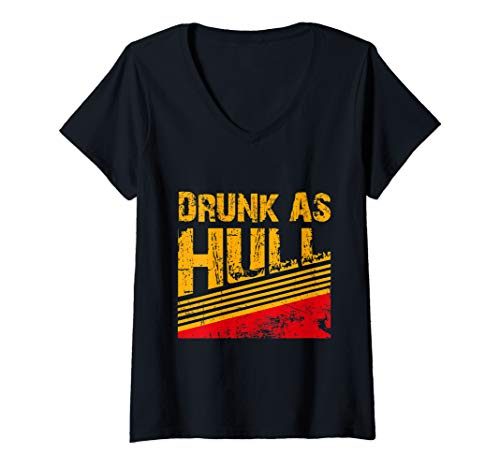 Womens  Drunk As Hull Shirt - Funny Hockey Fans Saying  Tee V-Neck T-Shirt