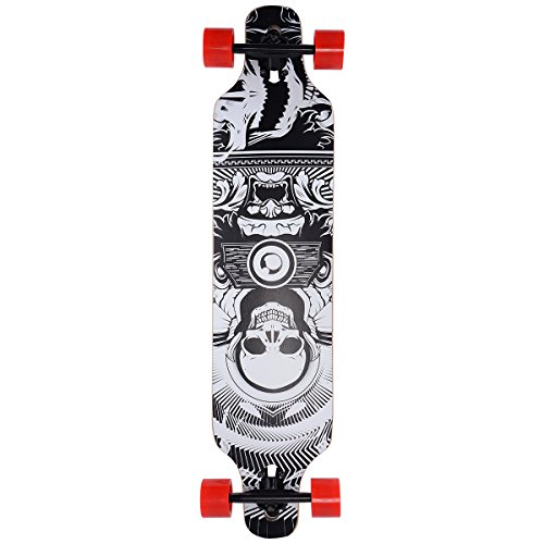 Costzon 41″ Longboard Skateboard Cruiser Complete Skate Board Deck Wood